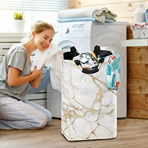 White Gold Marbling Grain Large Laundry Baskets Washing Hamper Bag Stone Dirty Clothes Storage Bin Toy Book Clothing Holder with Handles for Home Bathroom Bedroom 50L