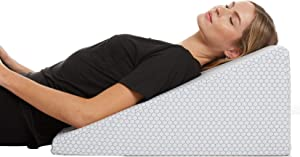 Cooling Wedge Pillow - 10 Inch Bed Wedge Pillow - 24 Inch Wide Incline Support Cushion for Lower Back Pain, Pregnancy, Acid Reflux, GERD, Heartburn, Allergies, Anti Snore – Soft Removable Cover