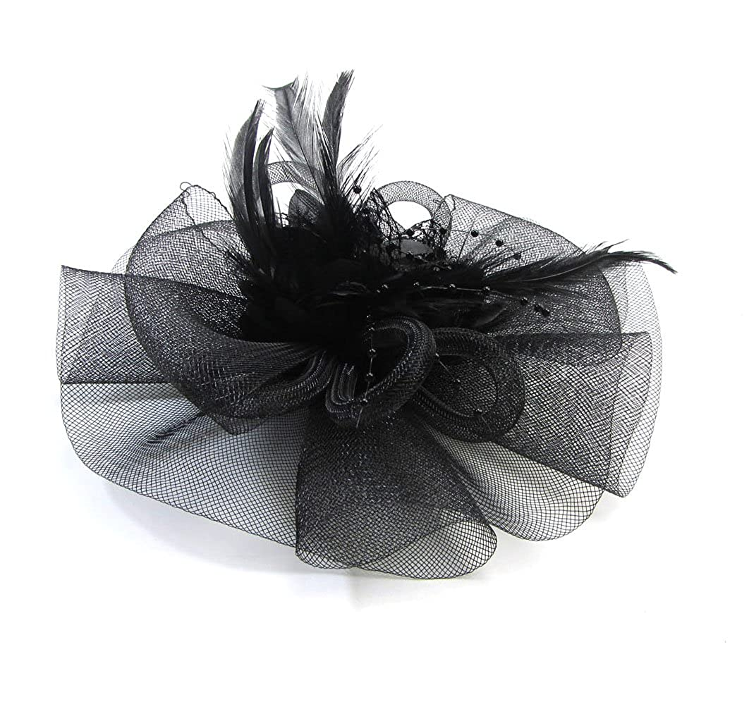 c5574d93c Net Veil Bowknot Flower Beads Feather Fascinator Headwear Face Hat Hair Clip  For Brooch Bridal Cocktail Ritual Prom Party (Black) at Amazon Women's  Clothing ...