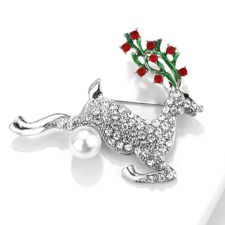 White HARRISON MCLEAN Cute Deer Brooches for Women Girls Czech Crystal Paved Pearl Large Enamel Pin Animal Brooch Jewelry