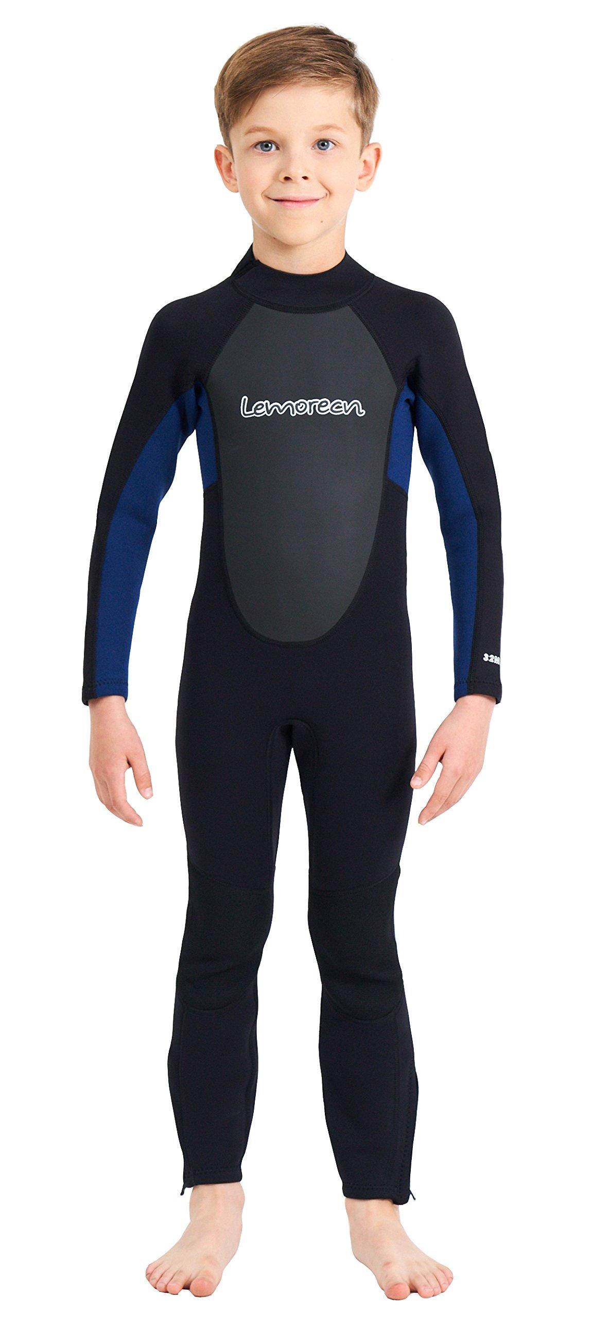 Lemorecn Wetsuits Youth 3/2 mm Full Diving Suit(4031blackblue6)