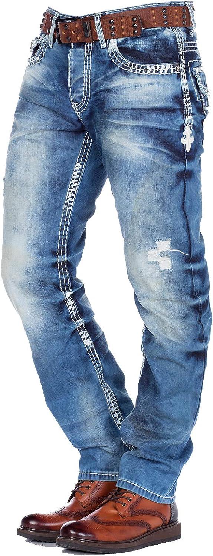 CIPO /& Baxx Pacha Hommes Jeans Denim Bleu Straight Cut cd346 toutes les taille NEUF