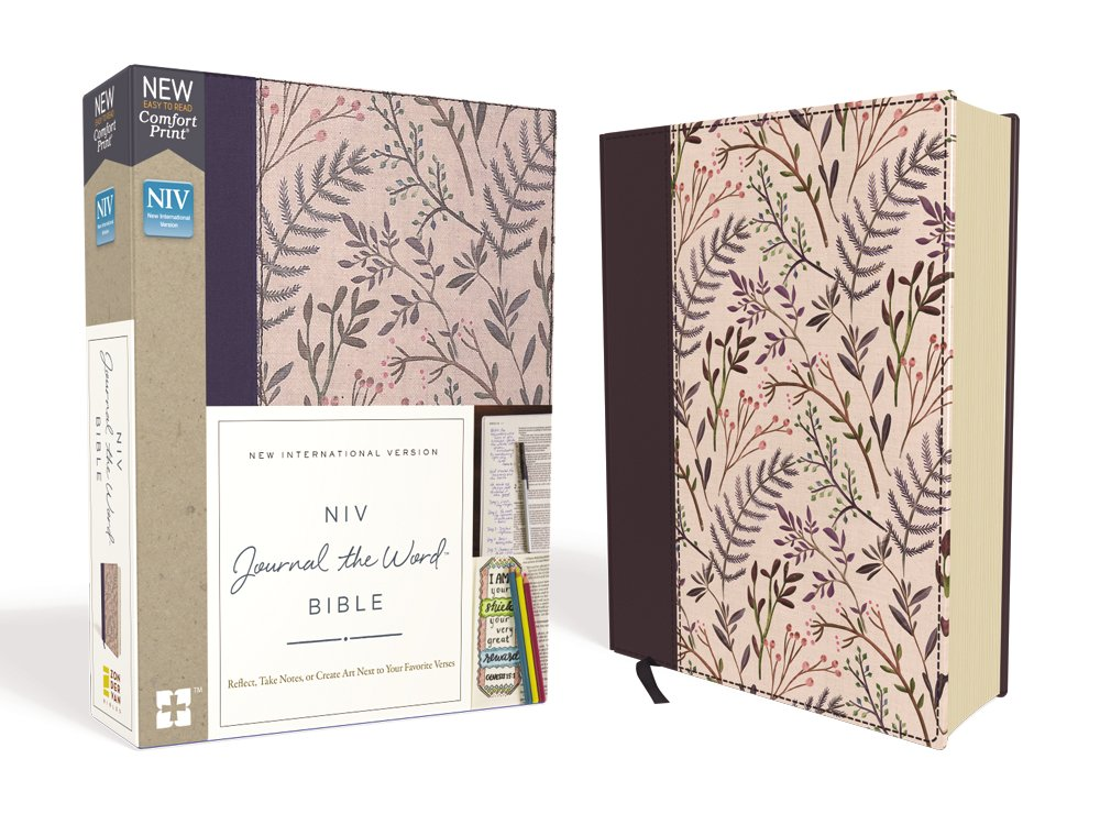 NIV, Journal the Word Bible, Cloth over Board, Pink Floral, Red Letter Edition, Comfort Print: Reflect, Take Notes, or Create Art Next to Your Favorite Verses by HarperCollins Christian Pub.