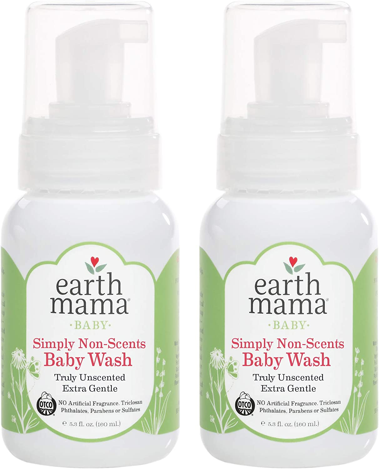 Earth Mama Simply Non-Scents Foaming Hand Soap | Pure Castile Germ-Fighting Body Wash, 5.3-Fluid Ounce (2-Pack)