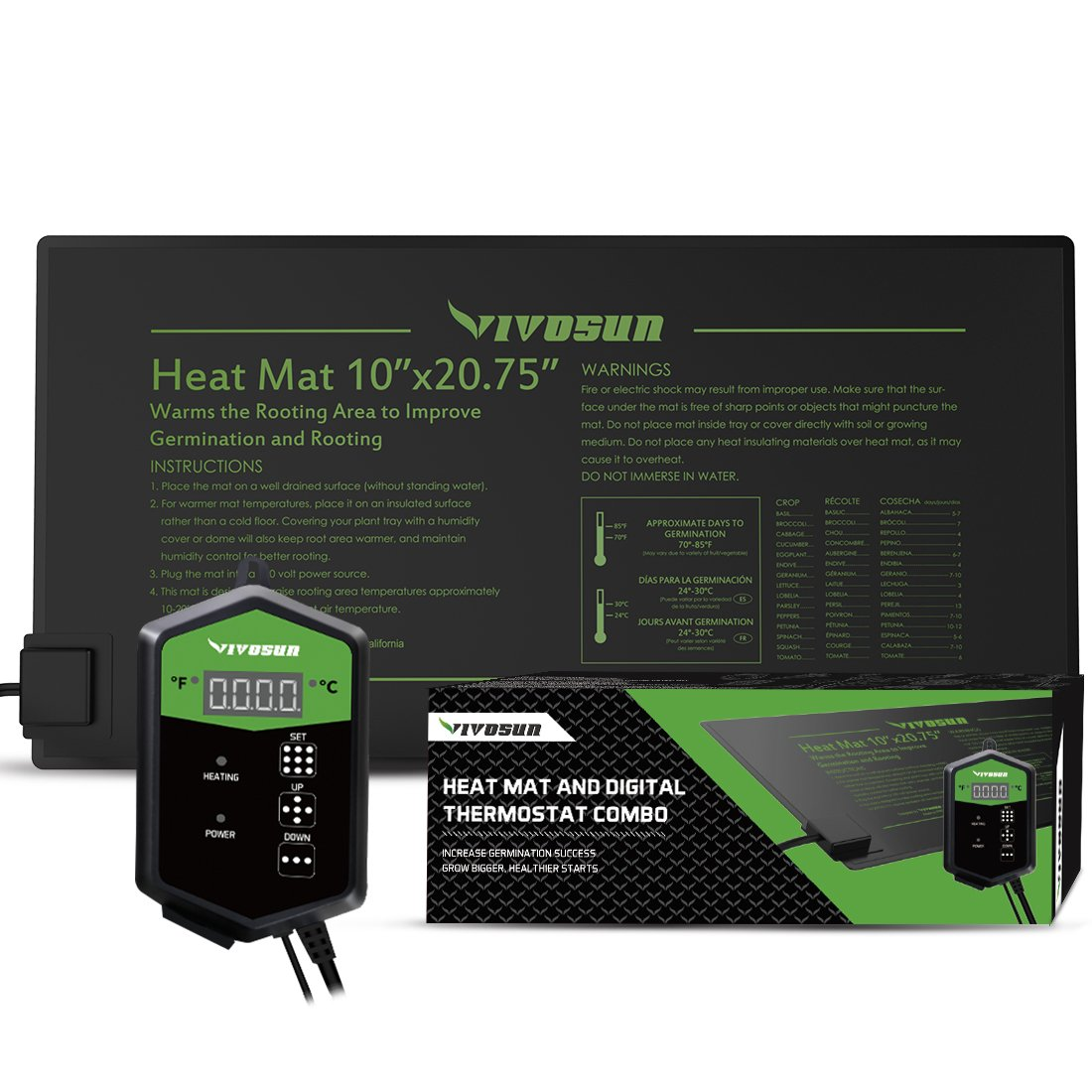 VIVOSUN 10''x20.75'' Seedling Heat Mat and Digital Thermostat Combo Set MET Standard