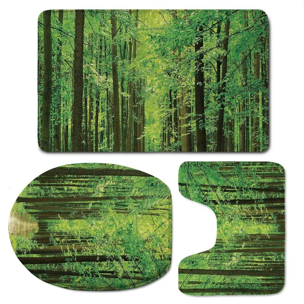 YOLIYANA Landscape Durable Bathroom 3 Piece Mat Set,Pathway in Forest Along Trees Foliage Woodland Landscape Picture Print for Bathroom,F:20'' W x31 H,O:14'' Wx18 H,U:20'' Wx16 H