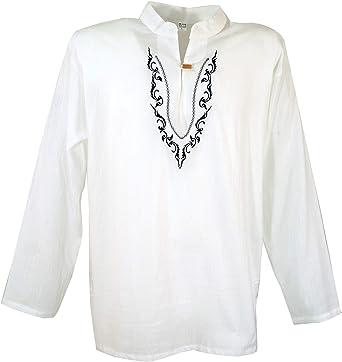 GURU-SHOP, Camisa Yoga Bordada, Camisa Goa, Algodón, Camisas de Hombre