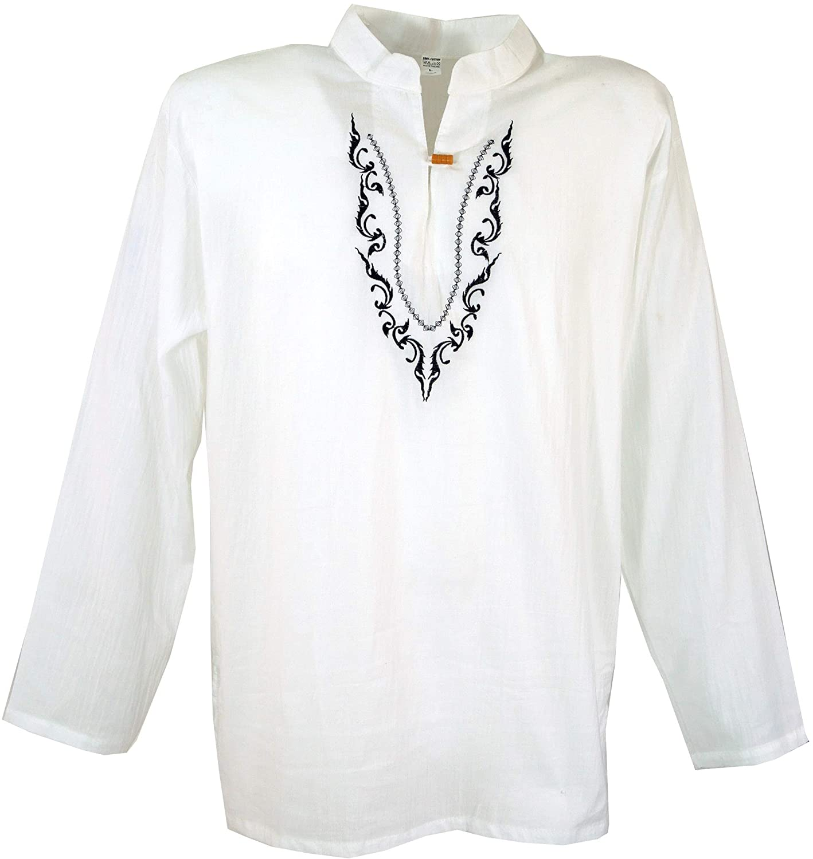 TALLA M. GURU-SHOP, Camisa Yoga Bordada, Camisa Goa, Algodón, Camisas de Hombre