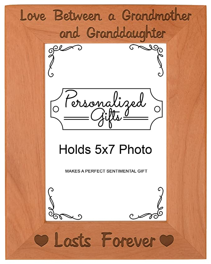 First Time Grandma Gifts Love Between A Grandmother Granddaughter Lasts Forever Birthday Natural Wood Engraved 5x7 Portrait Picture Frame