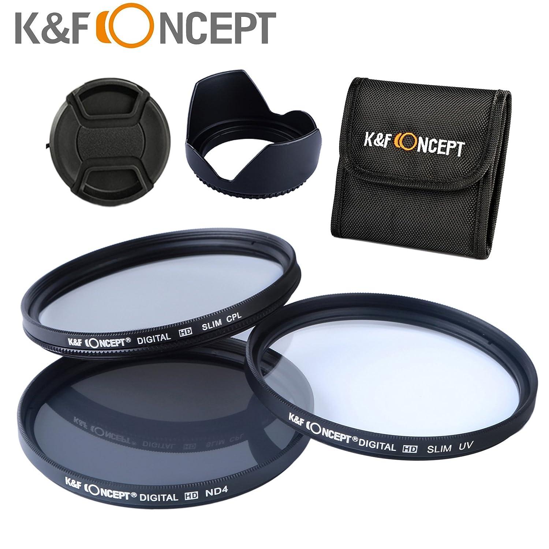 K&F Concept 58MM UV CPL ND4 58MM Filtro Ultrvioleta UV Filtro Polarizador Filtro de Densidad Neutra + Parasol de Lente + Centro Pinch Tapa del ...