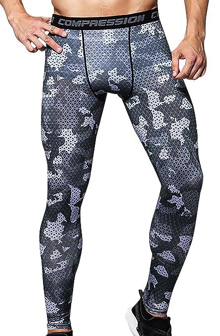 824b54a631 Panegy Mens Tights and Leggings Compression Pants Long Stretchy Pants Black  Camo S