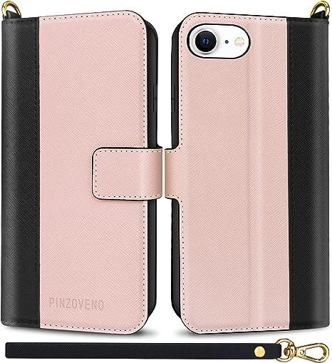 Pinzoveno Cover per iPhone SE 2020, Custodia per iPhone 7 / iPhone 8, Flip Caso in Pelle PU Magnetica Portafoglio Cover a Libro per 7/8/SE 2020 4,7 ...