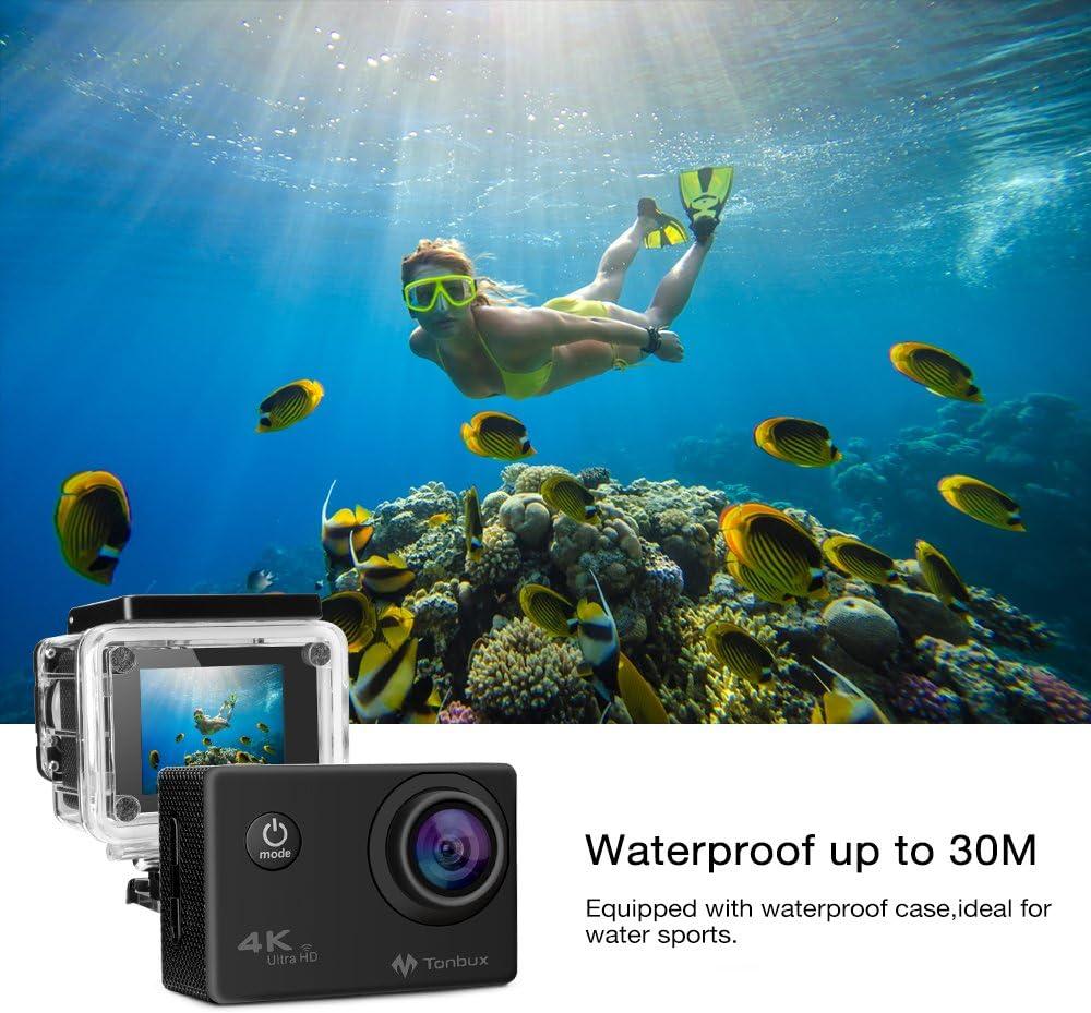 KawKaw HD Action Cam Sports Kamera Helmkamera 30M Wasserdicht Unterwasserkamera Ultra HD 2 LCD 170/° Weitwinkelobjektiv