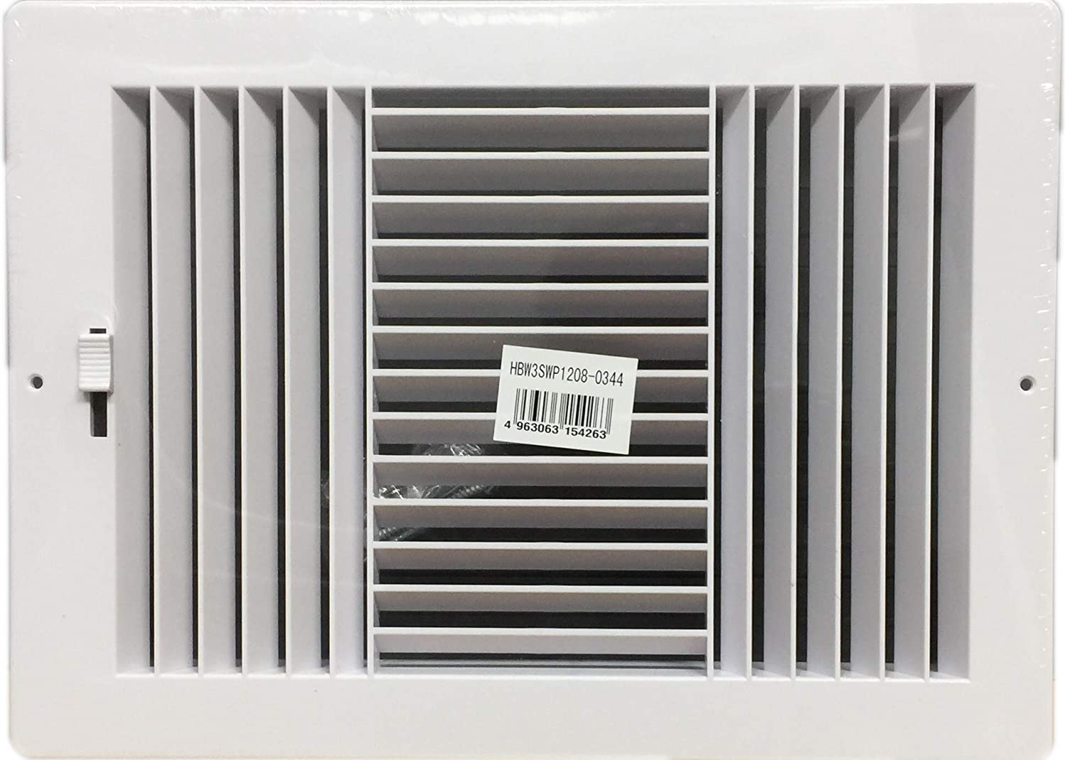 """HBW Three-Way Plastic Side Wall/Ceiling Register in White 12"""" w X 8"""" h for Duct Opening (Outside Dimension is 13.75"""" w X 10"""" h)"""