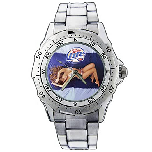 UKXZE01 - 1201 Miller Lite cerveza disfrutar de sexo reloj de pulsera de acero inoxidable: Amazon.es: Relojes