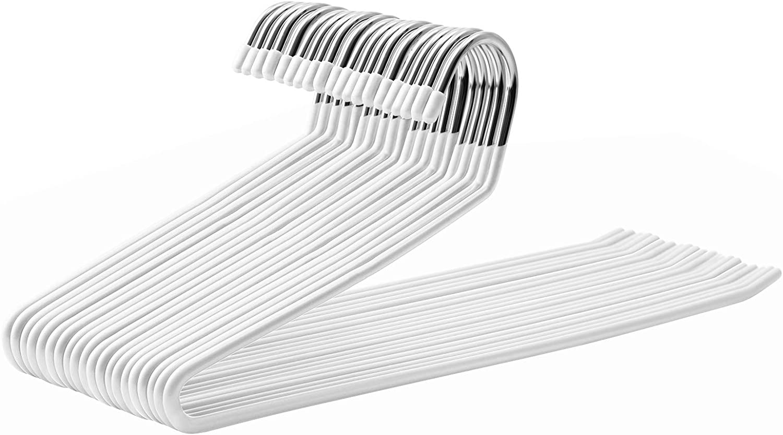 SONGMICS Set de 20 Perchas de Metal, Perchas Multifuncionales con Recubrimiento Antideslizante, Ahorro de Espacio, 38 cm de Longitud, Blanco CRI008W01