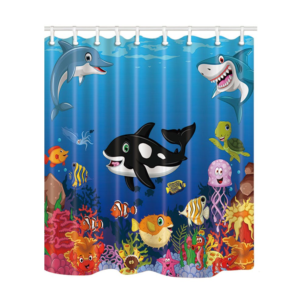KOTOM Kids Love Sea Animals Shower Curtains, Cartoon Whale with Sea Life Swimming in Coral, Polyester Fabric Waterproof Bathroom Bath Curtain, Shower Curtain Hooks Included, 69X70in by NYMB
