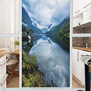 Decorative Window Film,No Glue Frosted Privacy Film,Stained Glass Door Film,Landscape Photography with Wooden Cabins Clear River and Mountains Norway Europe,for Home & Office,23.6In. by 47.2In Blue Gr