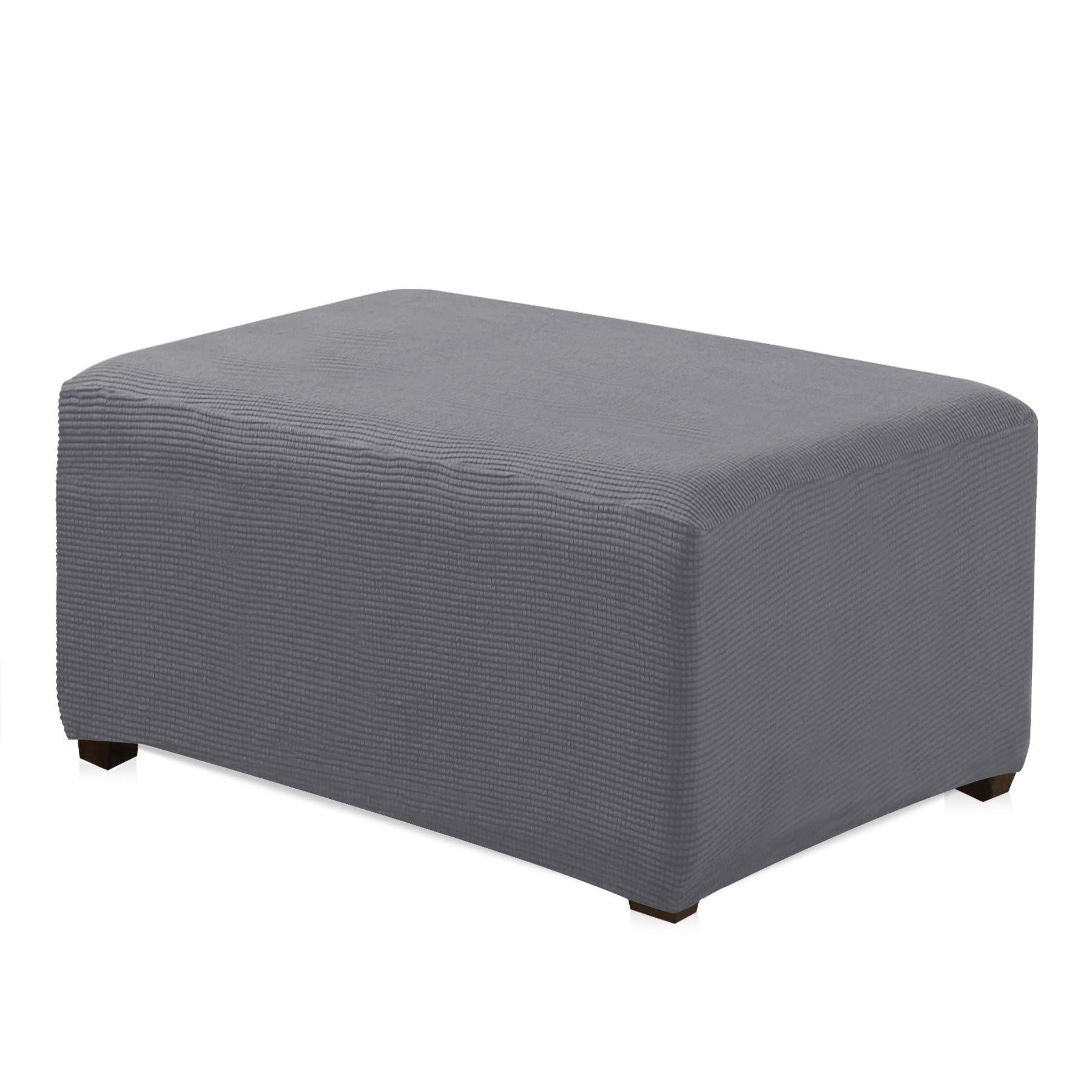 CHUN YI Jacquard Polyester Stretch Fabric Oversized Ottoman Slipcover for Living Room (Oversize, Light Gray)