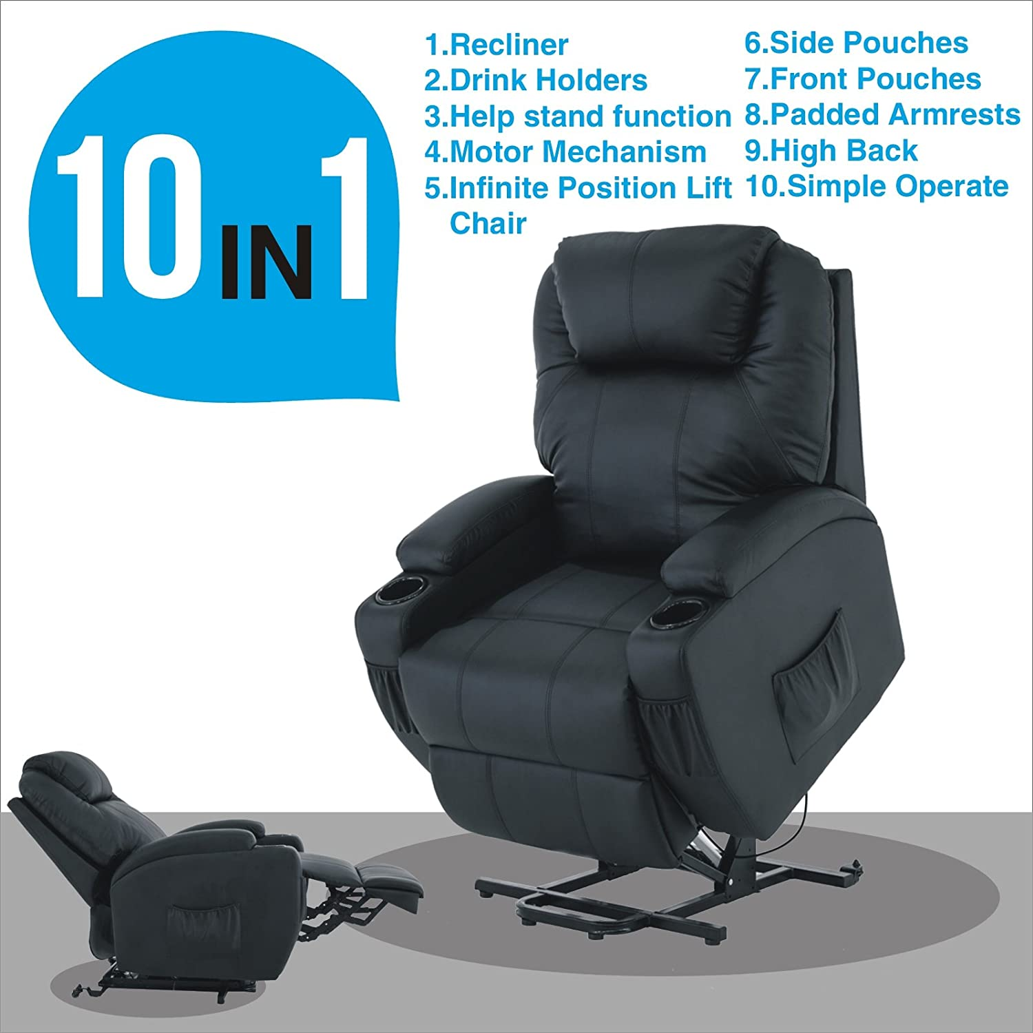 Amazon.com Power Lift Real Leather Recliner chair Wall Hugger Lounge Seat Black Kitchen u0026 Dining  sc 1 st  Amazon.com : wall recliner - islam-shia.org