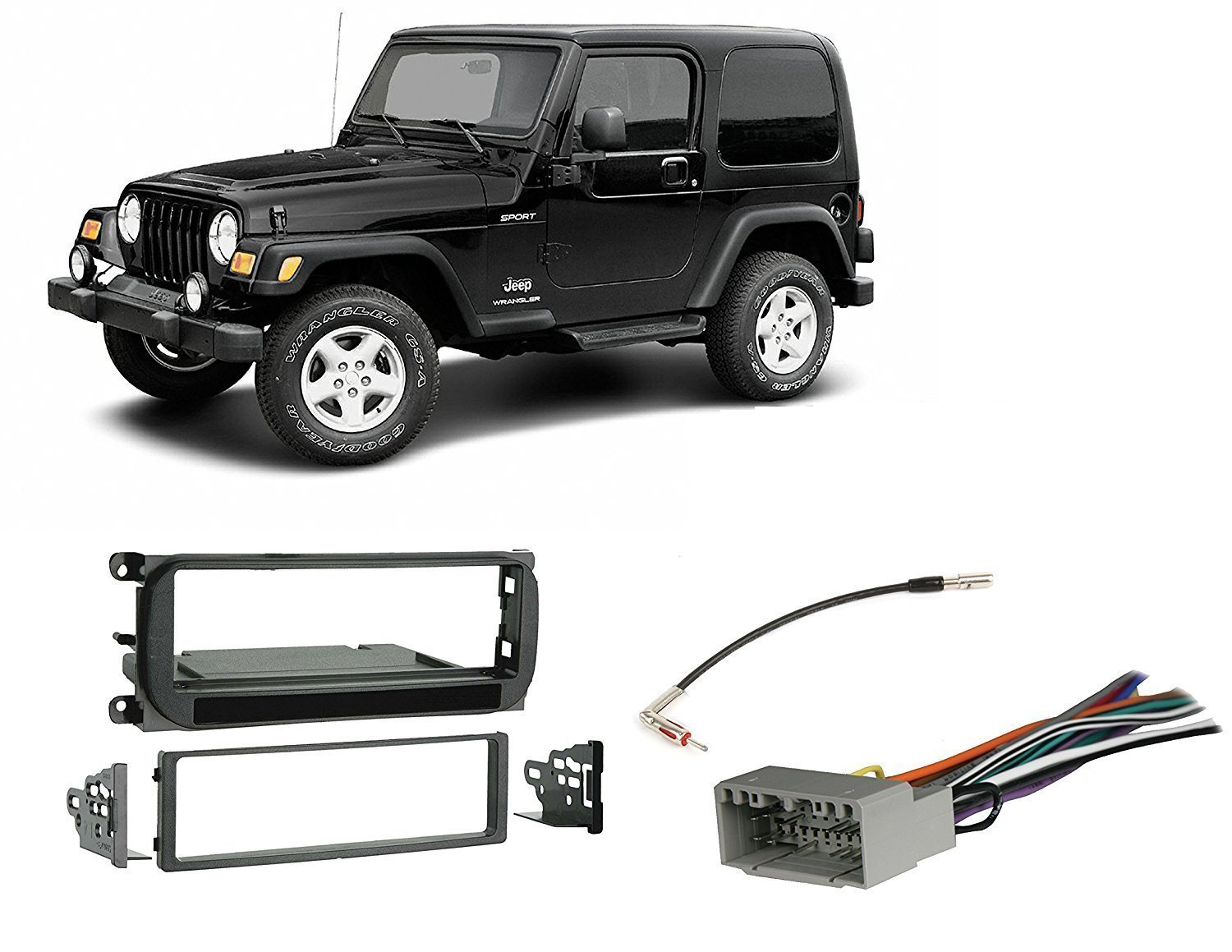 Jeep Grand Cherokee 02 04 Liberty 07 Wrangler Security Wiring 03 06 Radio Stereo Install Dash Kit Wire Harness Antenna Adapter Car Electronics