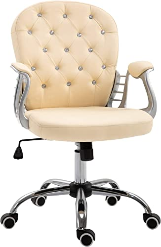 Vinsetto Vanity PU Leather Mid Back Office Chair Swivel Tufted Backrest Task Chair