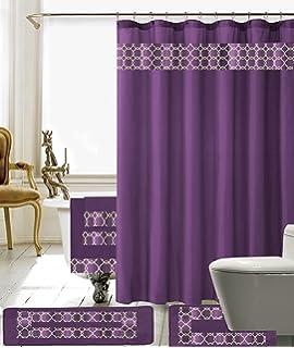 18 piece embroidery banded shower curtain bath set 1 bath mat 1 contour 1 shower curtain