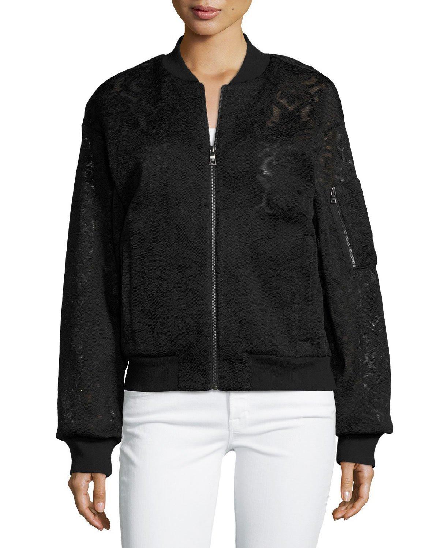 BCBGMAXAZRIA Brice Lace Embroidered Bomber Jacket (XX-Small, Black)