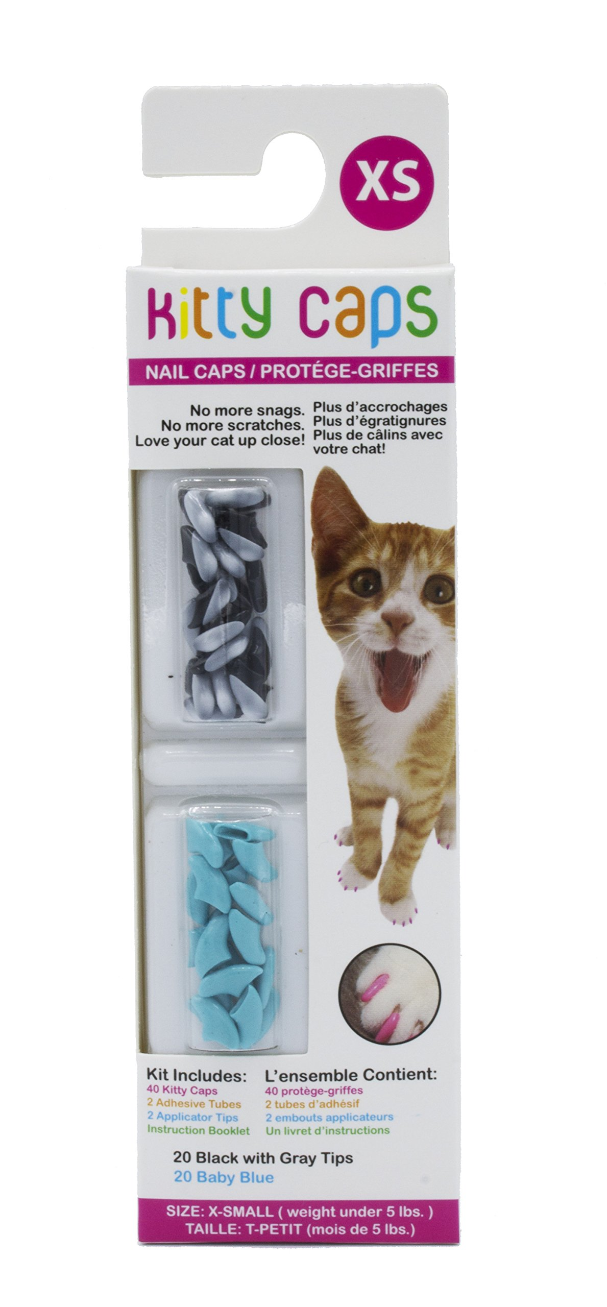Kitty Caps Nail Caps for Cats | Safe & Stylish Alternative to Declawing | Stops Snags and Scratches, X-Small (Under 5 lbs), Black with Gray Tips & Baby Blue