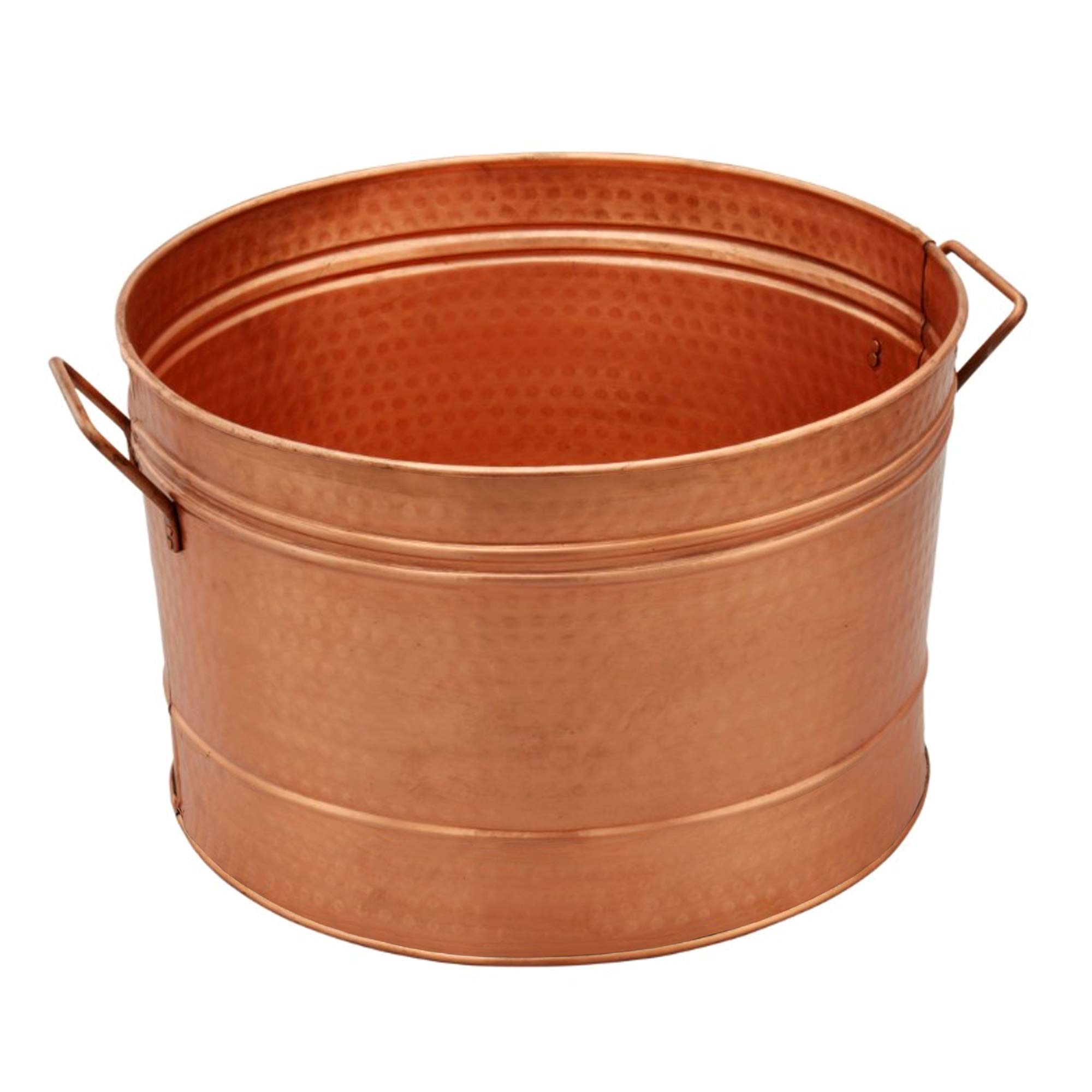 Benzara HGM008 Hammered Pattern Galvanized Farmhouse Style Tub Copper