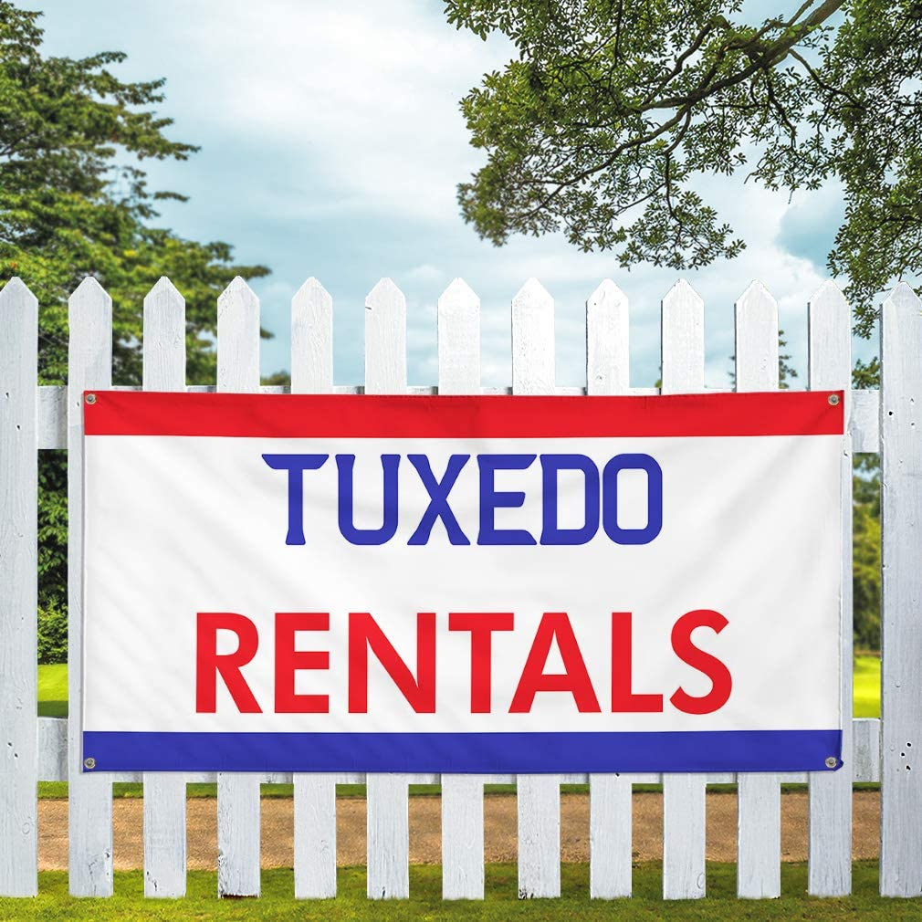Vinyl Banner Multiple Sizes Tuxedo Rentals Outdoor Advertising Printing Business Banners Outdoor Weatherproof Industrial Yard Signs White 10 Grommets 60x144Inches