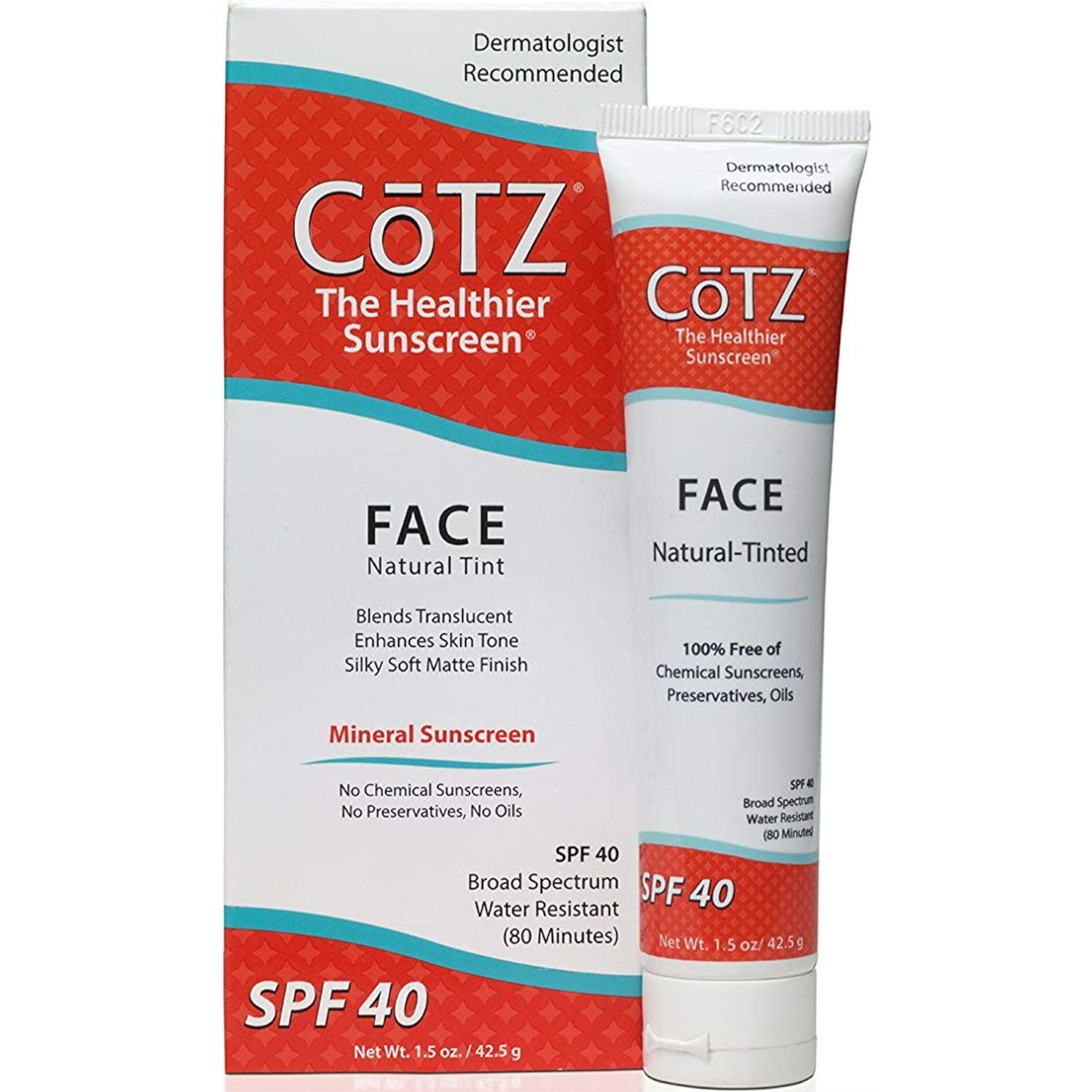 Cotz Face Sunscreen Natural Skin Tone SPF 40 1.5 oz Pack of 2