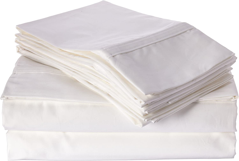 White Tribeca Living 500 Thread Count Egyptian Cotton 6-Piece Deep Pocket Sheet Set Queen