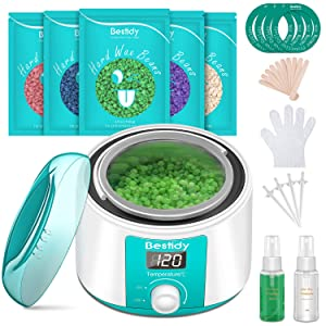 Bestidy Waxing Kit for Women and Men Home Wax Warmer with 5 Pack Hard Wax Beans Hot Wax Hair Removal for Brazilian Body Underarm Bikini Chest Legs Face Eyebrow