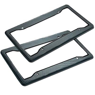 Zone Tech Carbon Fiber Plastic License Plate Cover Frame - 2-Pack Classic Black Premium Quality Standard Fit Novelty/License Plate Frame: Automotive