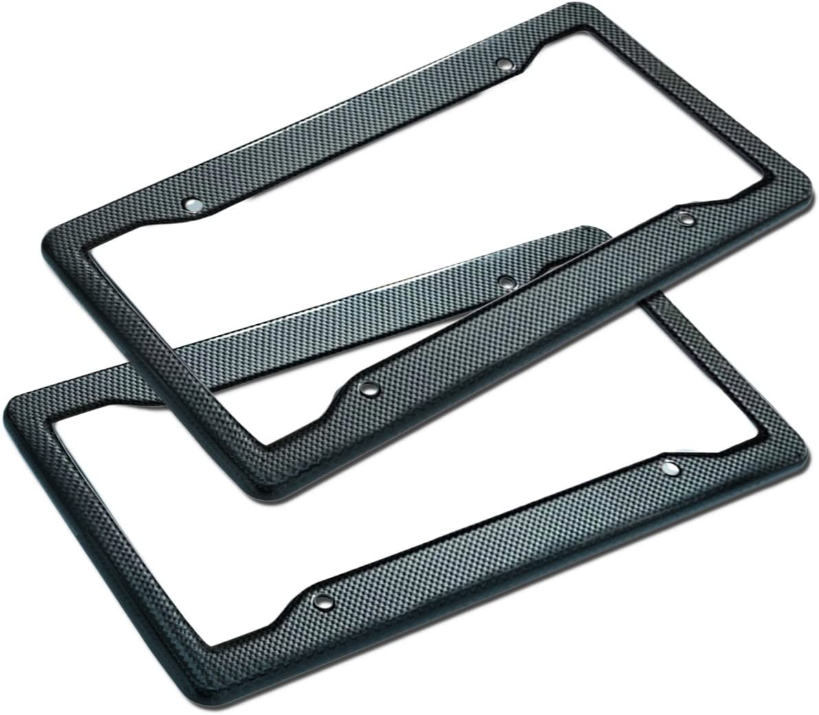 Zone Tech Carbon Fiber Plastic License Plate Cover Frame - 2-Pack Classic Black Premium Quality Standard Fit Novelty/License Plate Frame