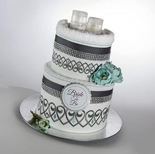 acqua and smokey gray bride to be towel cake bridal shower gift