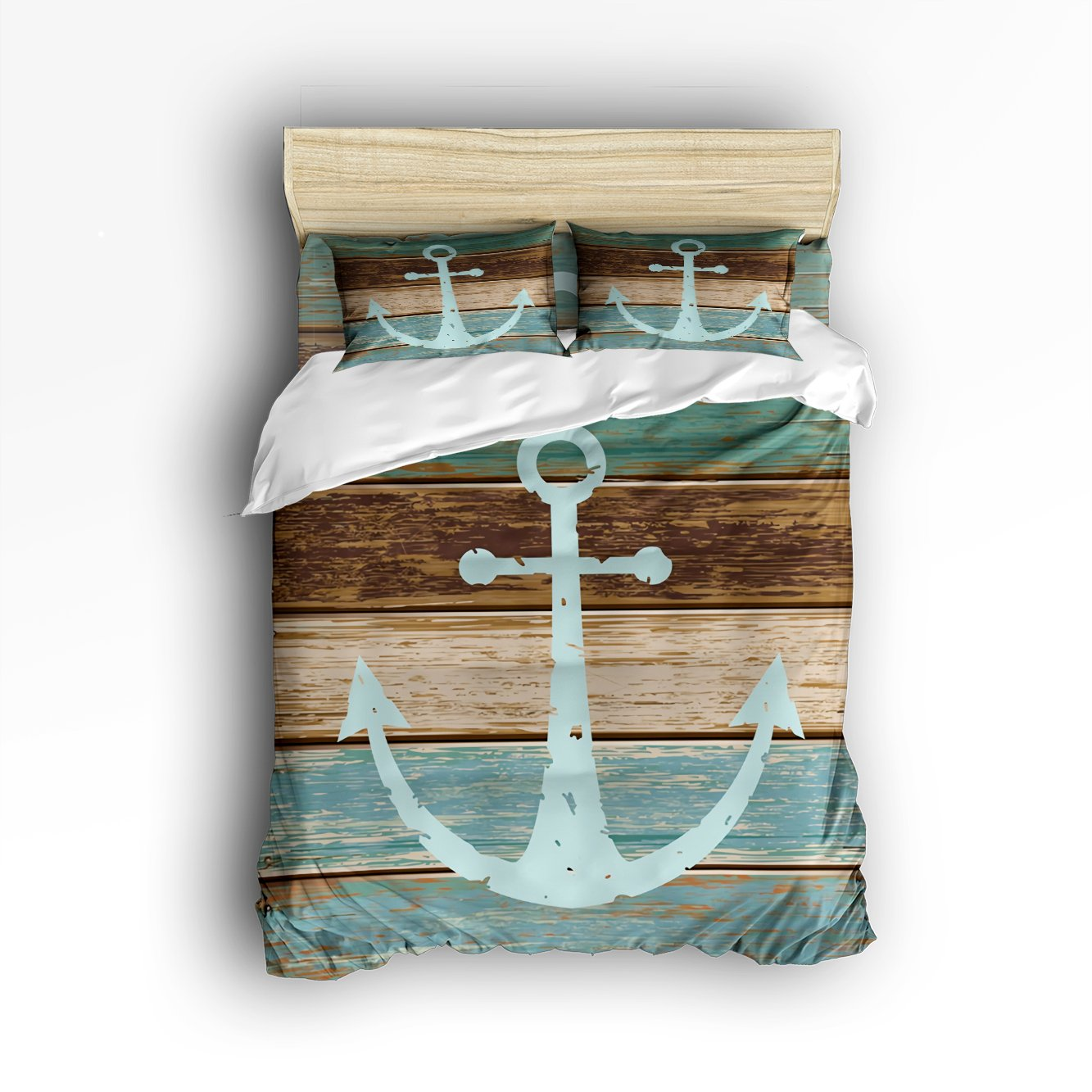 4 Pieces Home Comforter Bedding Set, Nautical Anchor Rustic Wood Digital Printing Queen Size