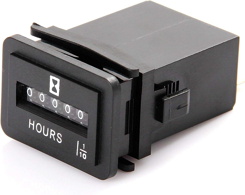 Joyron JR-HM001DC 6-50V Mechanischer Betriebsstundenz/ähler f/ür Gleichstromger/äte wie Gabelstapler Golfwagen Bodenpflegeger/äte und andere batteriebetriebene Ger/äte
