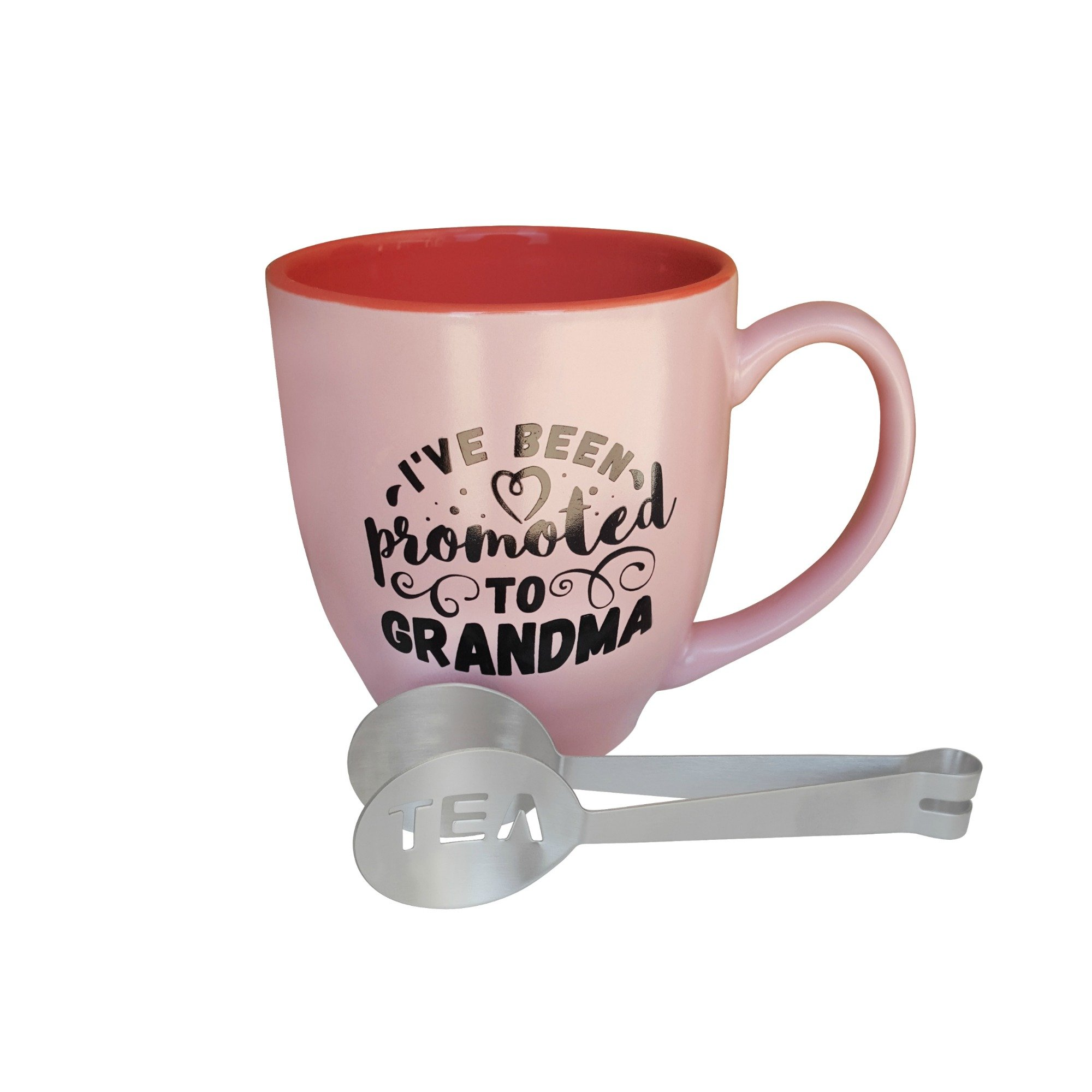 Grandma Mug I've Been Promoted to Grandma Pink Two Tone Bistro Mug and Stainless-Steel Tea Squeezer – 2 items in bundle