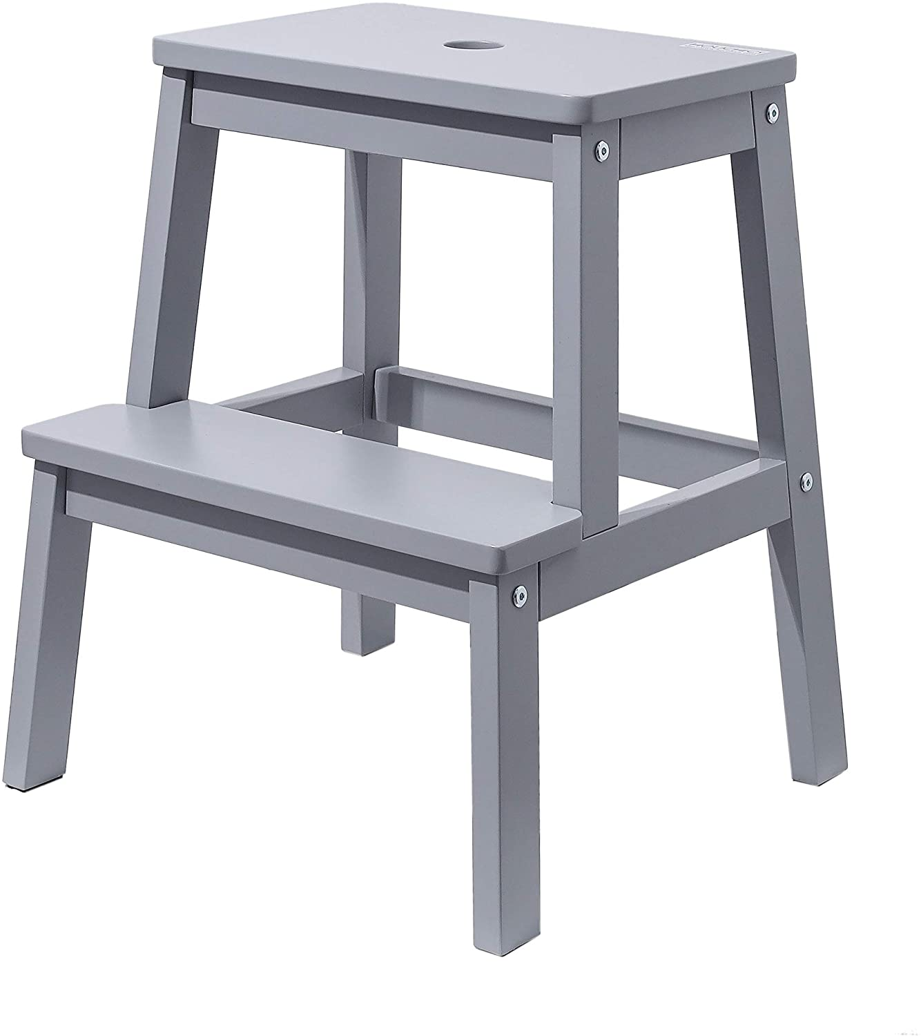 HOUCHICS Wooden Step Stool for Adult with 260lb Load Capacity,Multi-Purpose Gray 2-Step Stool-Toddler Kids Bedside Step Helper for Kitchen,Bathroom,Bedroom