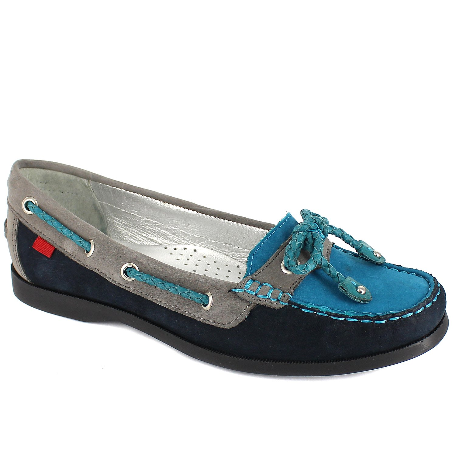 Marc Joseph New York Womens Liberty Cruise Leather Lining Shoe With Bow Tie Multi Navy Size 8.5