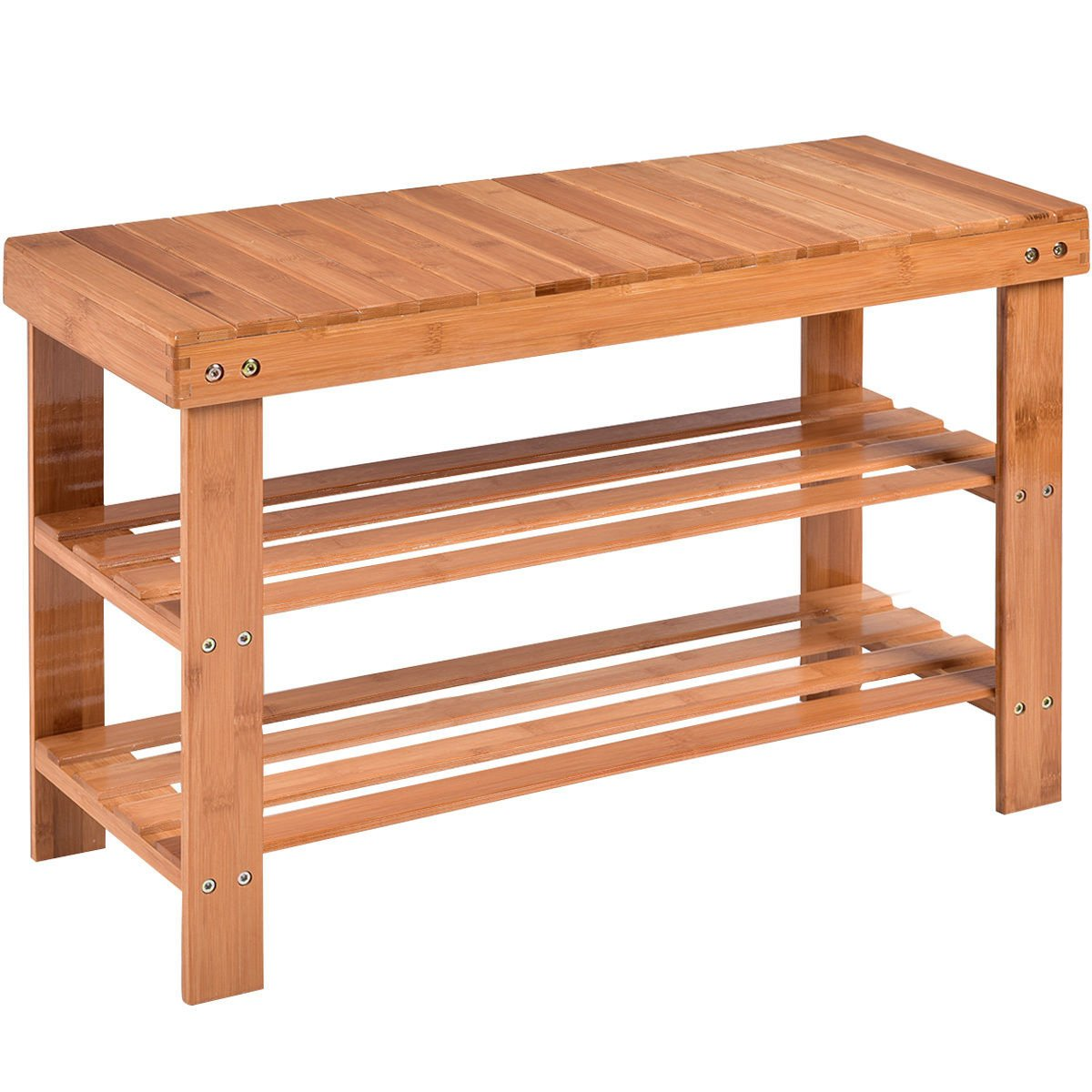 COSTWAY Bamboo Shoe Rack Bench 3-tier Free Standing Wood Shoe Storage Organizer Shelf Holder Home Entryway Hallway Furniture Eco-Friendly (Natural)