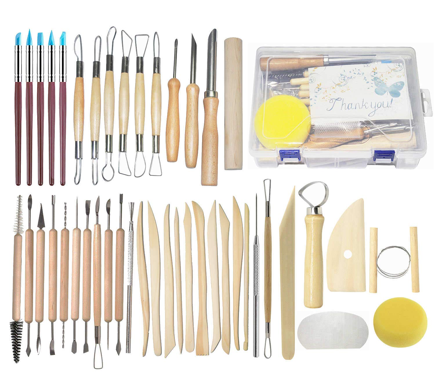 Pottery Tools, 44PCS Ceramic Clay Sculpting Tools Set with Plastic Case, for Beginners and Professional Art Crafts, by Augernis AU-358