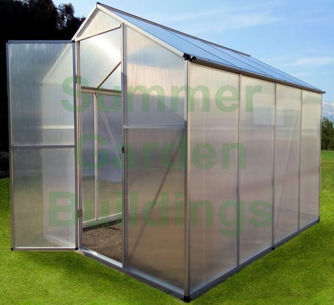 Fácil ajuste a presión Asamblea invernadero de policarbonato – Plata, clip libre, bisagra de la puerta: Amazon.es: Jardín