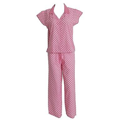 d4f282b36f Damen Nachtwäsche / Pyjama, Oberteil und Hose, Oberteil mit Knöpfen,  Kurzarm (38
