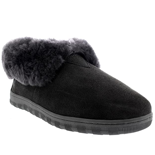 Polarr Mens Rubber Sole Real Suede Boots Cuff Slippers - Grey - UK9/EU43 -  YC0455: Amazon.co.uk: Shoes & Bags