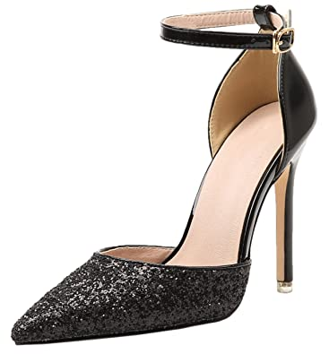 421fbed68 Ankle Strap Pumps by Bigtree Women Shiny Sequins Black Pointed Toe D Orsay  Dress Shoes