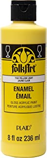 product image for FolkArt Gloss Acrylic Enamel Paint in Assorted Colors, 8 oz, Yellow Light