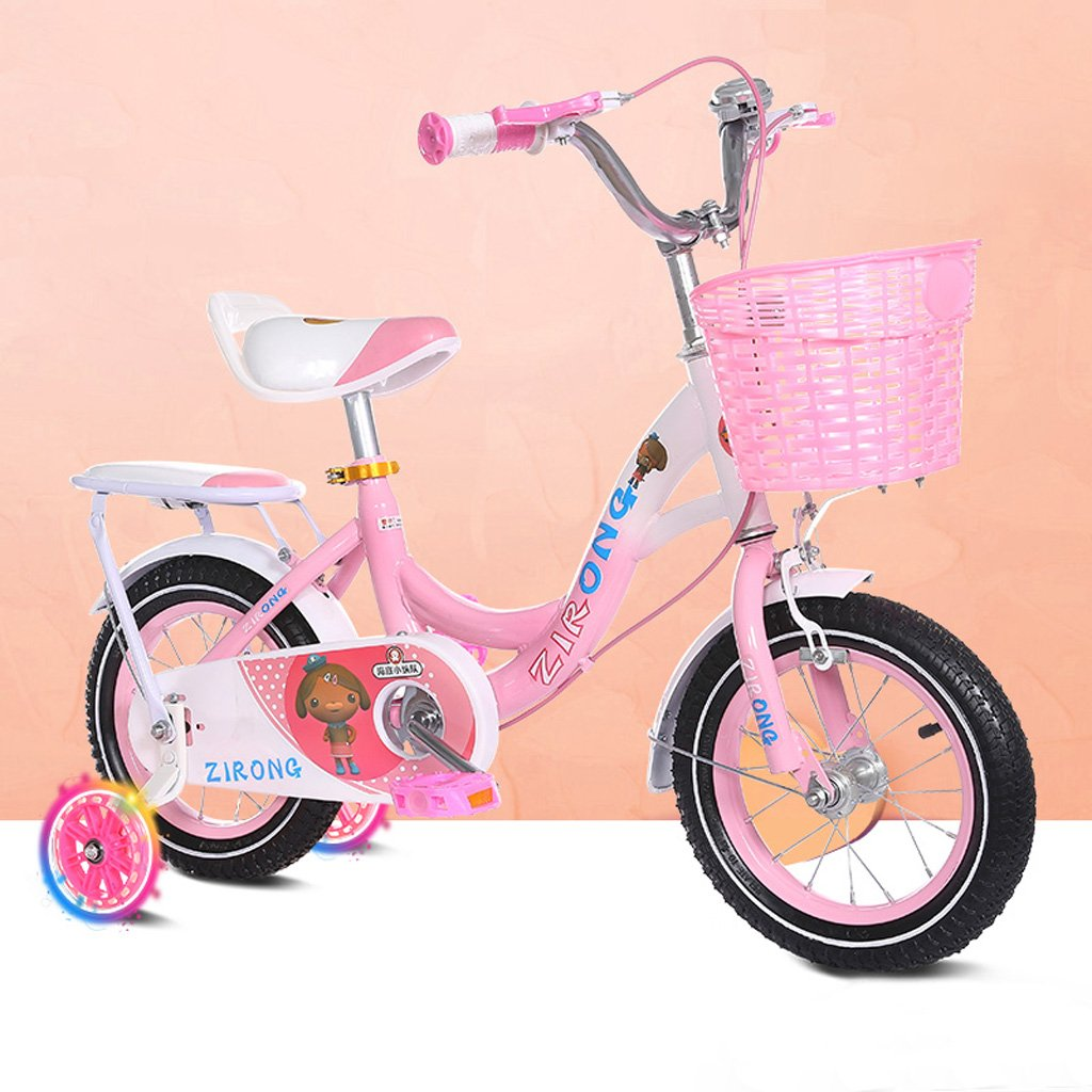 子供用自転車4-7歳の女の子用自転車16インチベビーベビーカー高炭素スチール自転車、ピンク/ブルー (Color : Pink) B07CYYW1VG